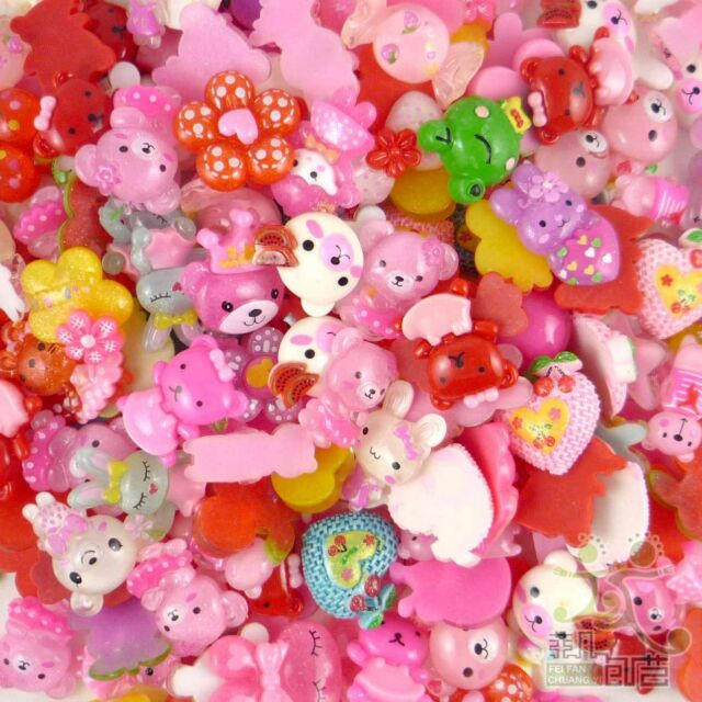 50pcs mixed cute resin flatback cabochon flower heart cartoon embellishment 25MM
