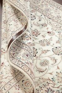 250-Knots-Wool-Silk-Floral-WHITE-Nain-Area-Rug-Hand-Knotted-Oriental-Carpet-5x8