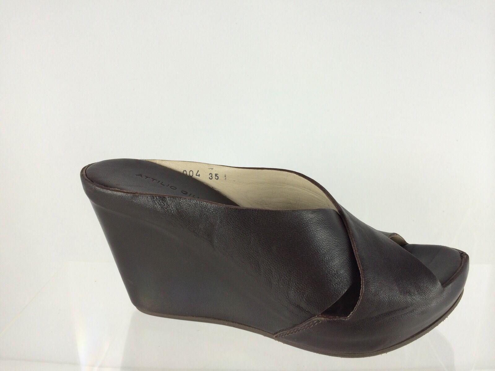 Attilio Giusti Leombruni Womens Dark Brown Leather Wedge Sandals 35