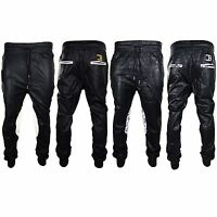 Men Coke Boys Leather Shell Jogger Pants Pocket Black White Drawstrings Elastic