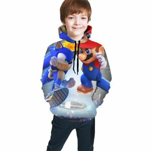Super Mario Hedgehog Sonic Young Teen Boy Hoodie Sweatshirt Jumper Pullover Gift Ebay