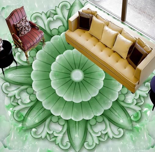 3D Grün Jade Floral 7 Floor WallPaper Murals Wall Print Decal AJ WALLPAPER US