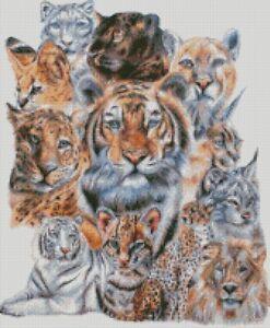 Cross stitch kit big cat panther