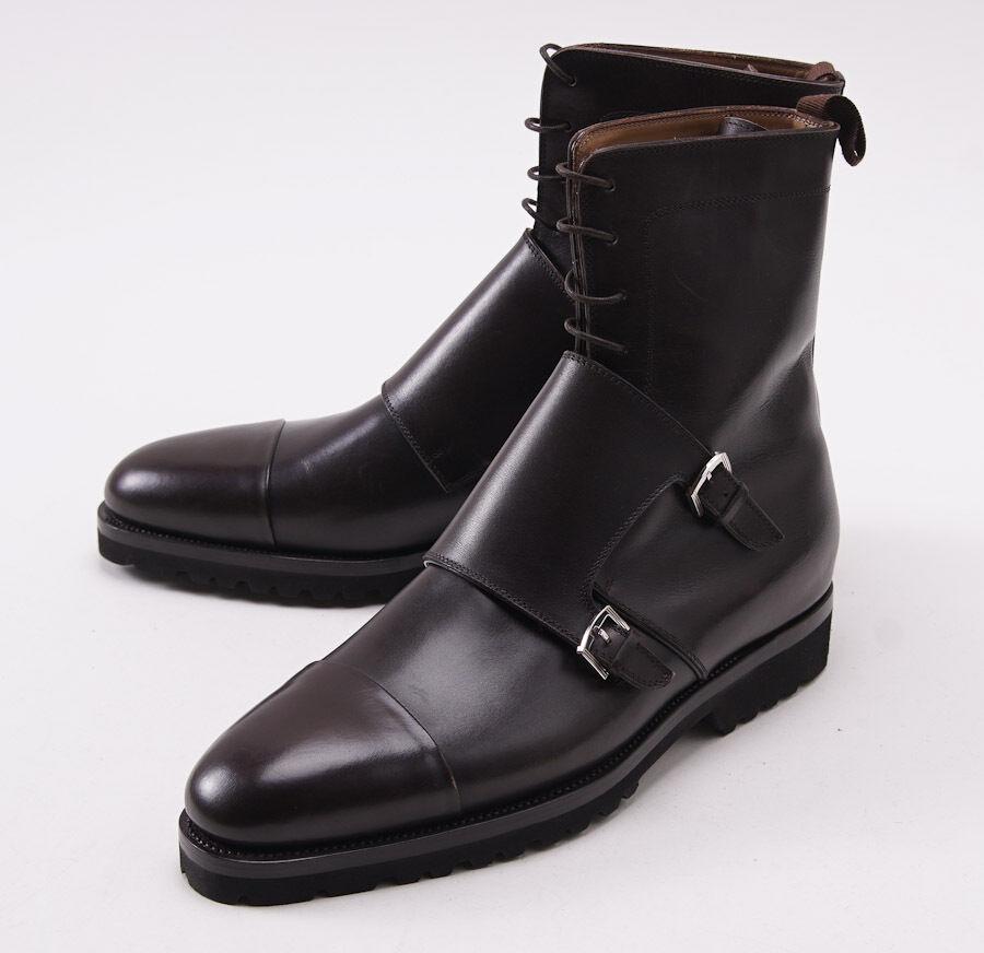 Nuevo En Caja  KITON Marrón Cuero Correa Doble Hebilla monje botas al Tobillo Zapatos US 9.5
