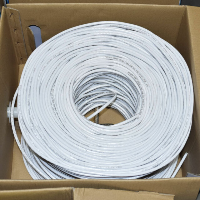 CAT6 1000FT UTP Cable Solid 23AWG CCA Network Ethernet Bulk Wire LAN White