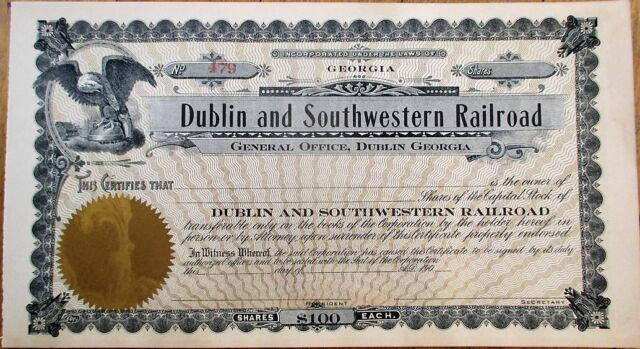 Dublin & Southwestern Railroad 1905 Stock Certificate - Georgia GA