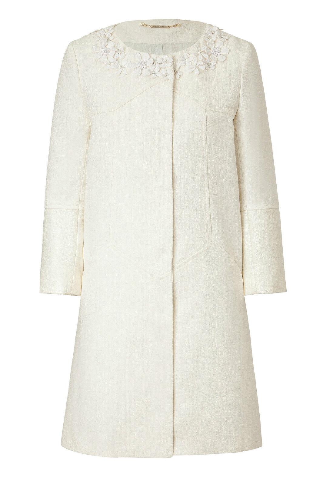 Matthew Williamson  Cotton Linen Embellished Collar Ivory Coat rrp  1,900 14  lo último