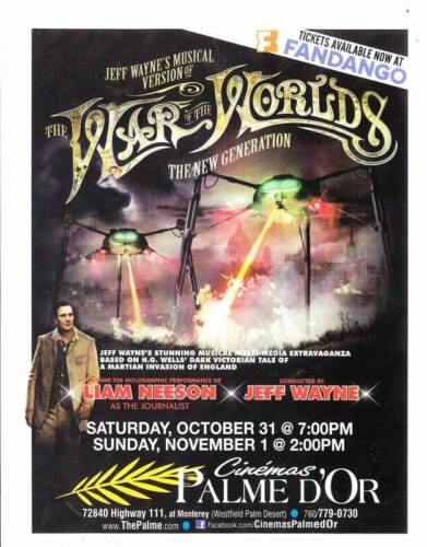Advertising flyer for JEFF WAYNE'S WAR OF THE WORLDS from Fall 2015 US film