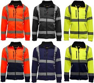 Mens-Premium-Safety-Hi-Vis-Viz-Visibility-Lined-Work-Fleece-Jacket