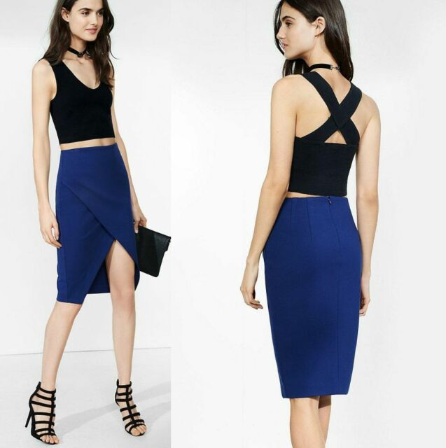 EXPRESS Ink Blue Asymmetrical Pencil Skirt sz 4 (S) #h791