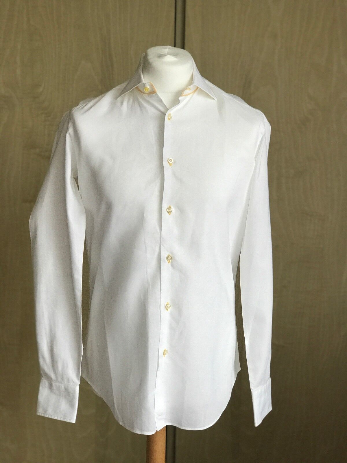 PAL ZILERI Men Cotton Shirt, White with Yellow Stitches, Size 15.5