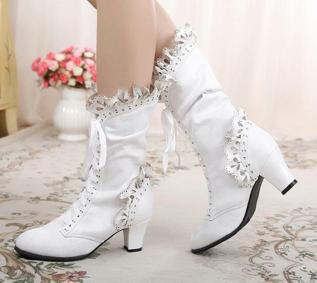 NEW Womens Lace Ankle Boots Chunky Mid Heels Sweet Patent Leather Shoes A529