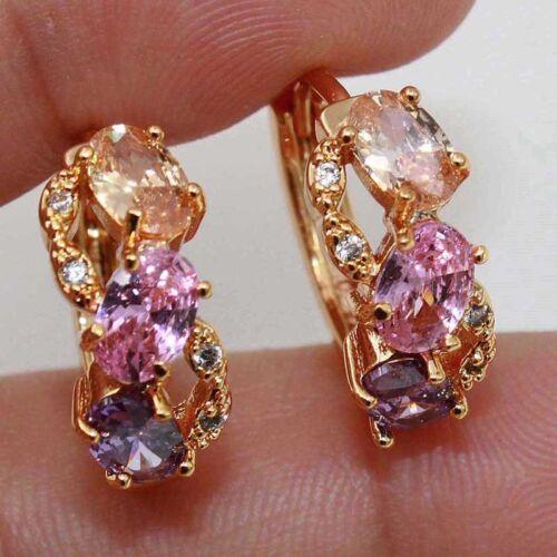 18K Gold Filled Gems Amethyst Morganite Pink Quartz Multilayer Hoop Earrings