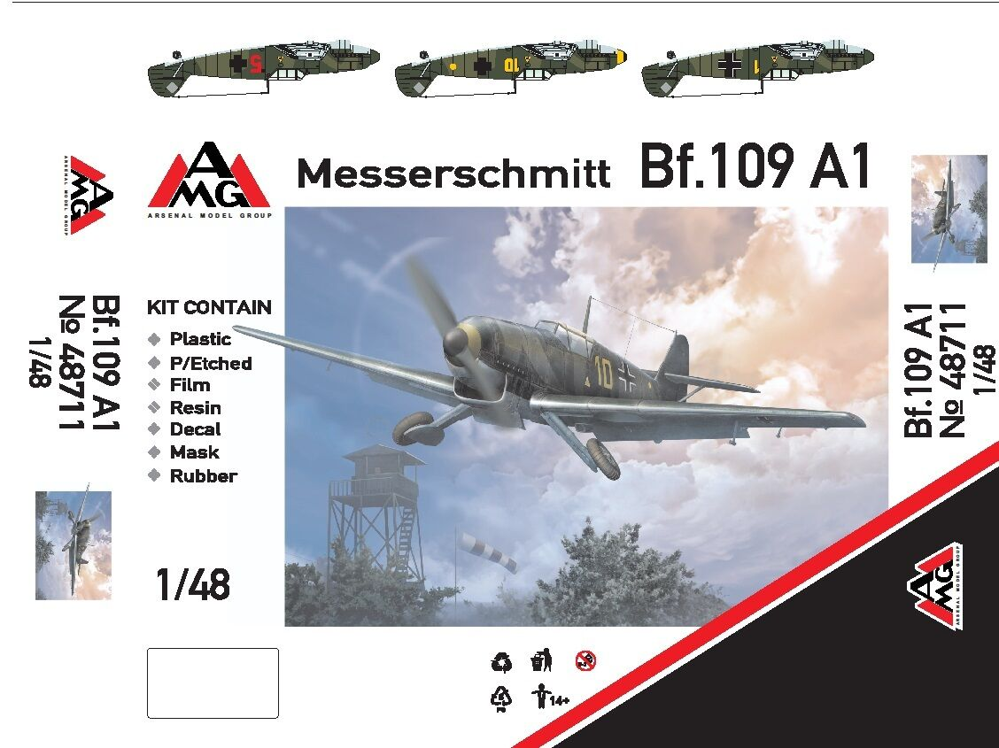 1 48 Bf-109A1 - NEW AMG multimedia kit (+ PE, resin)