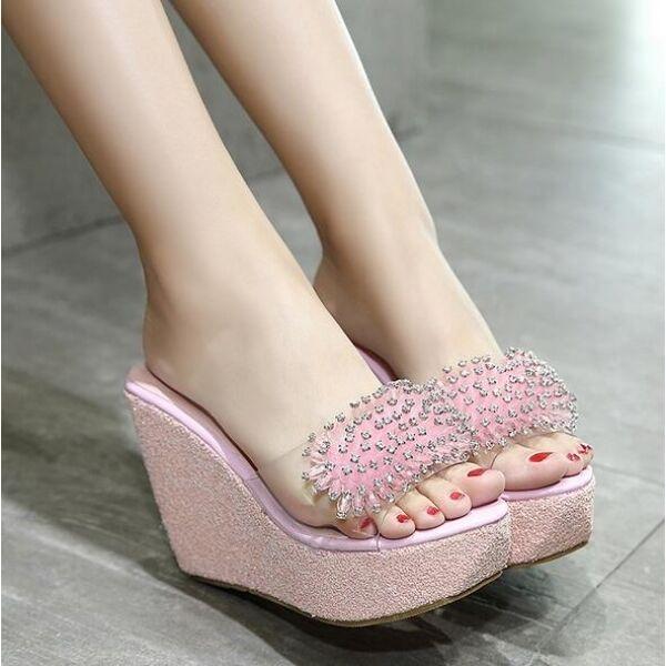 Sandali ciabatte donna infradito cm rosa alti zeppa 11 cm infradito mare comodi cw519 320d71