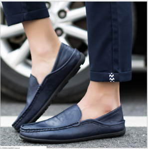Fashion-Leather-Men-039-s-Casual-Shoes-Breathable-Antiskid-Loafers-Moccasins