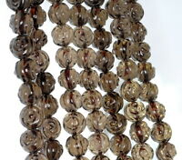 10mm Dark Smoky Quartz Gemstone Grade Aa Carved Flower Rose Loose Beads 15