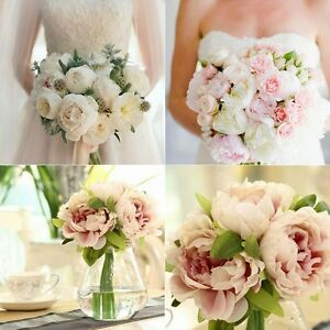 Image Is Loading Artificial Rose Silk Fake Peony Flower Bouquet Wedding