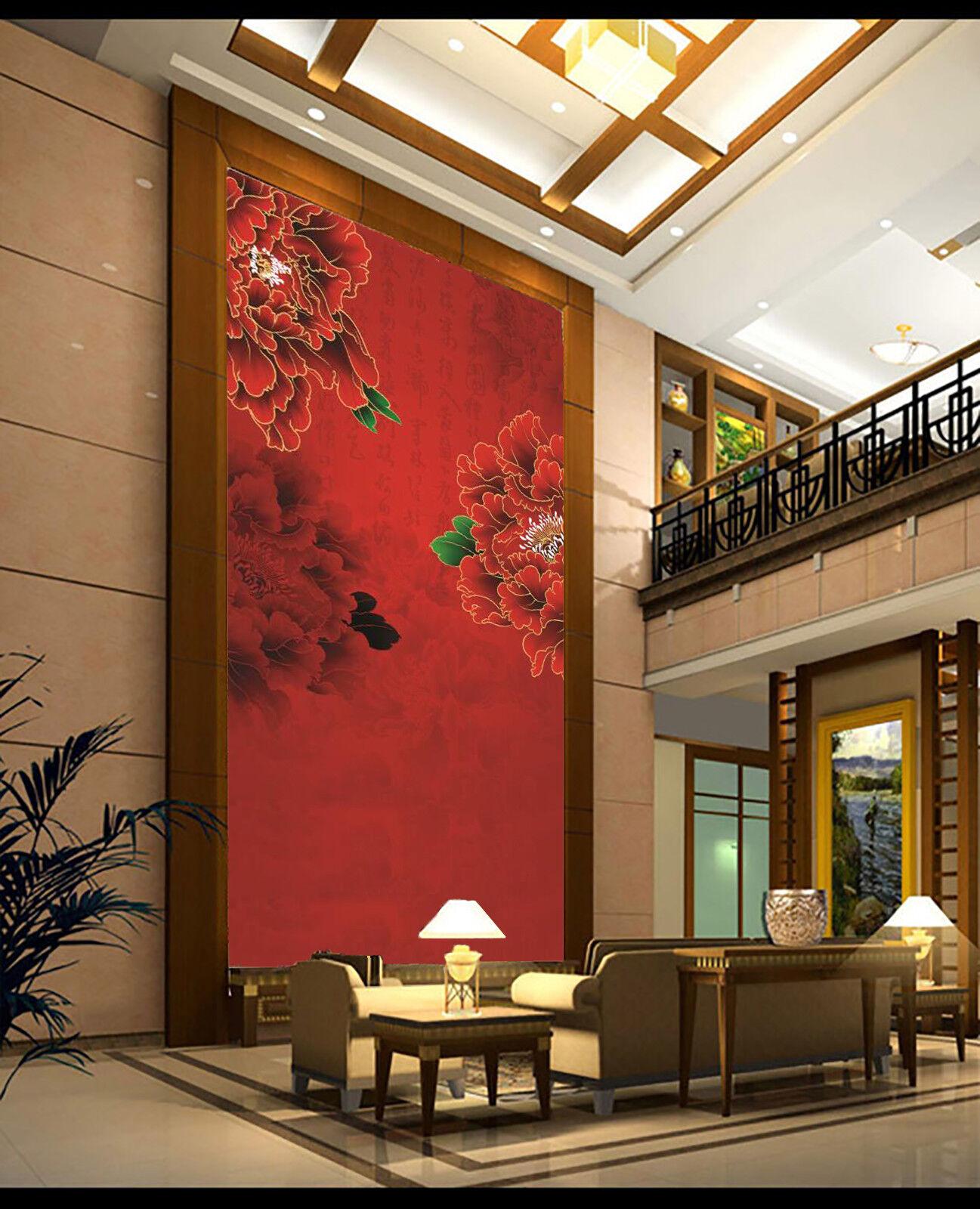 3D Rote Pfingstrose 899 Tapete Wandgemälde Tapete Tapeten Bild Familie DE Lemon