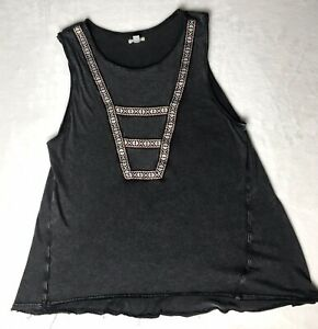 Ecote-Urban-Outfitters-Size-Small-Tank-Top-Gray-Embroidered-100-Cotton