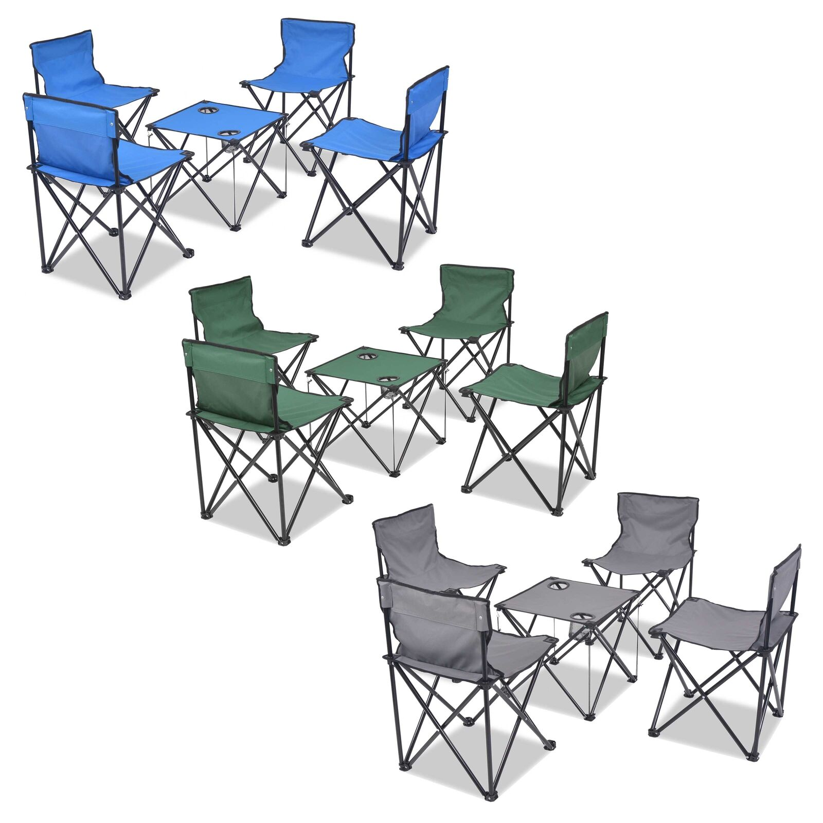 VidaXL Folding Camping Furniture Set 5 Piece 45x45x70cm Picnic Multi Colours