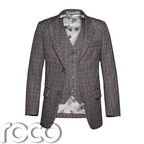Boys Brown Jacket Set Boys Check Jacket Boys Check Waistcoat