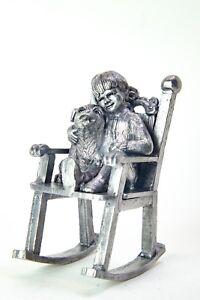 Incredible Details About Michael Ricker Vintage Pewter Figurine Sculpture Ray Puppy Dog On Rocking Chair Frankydiablos Diy Chair Ideas Frankydiabloscom