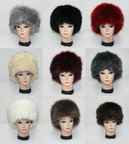 Luxury Ladies Faux Fur Hat Russian Style Cossack Pillbox Winter Fake Fur