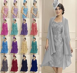 Formal-Lace-Evening-Mother-of-the-Bride-Dress-amp-free-Chiffon-Jacket-Size-6-20