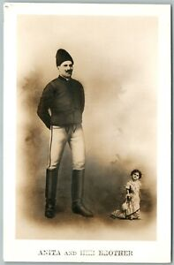 MIDGET-LILLIPUTIAN-ANITA-HER-BROTHER-1912-RARE-ANTIQUE-REAL-PHOTO-POSTCARD-RPPC