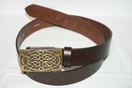 Gothic Mittelalter brauner Gürtel Ledergürtel Buckle Celtic altmessing Neu
