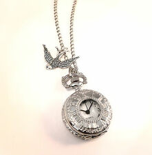 Vintage Silver Swallow Pocket Watch Clock Necklace-Jewellery-Alice in Wonderland