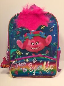 """Trolls Poppy Backpack 16/"""" Kids School Book Bag Full Size"""