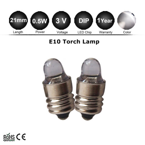 2 X E10 3V MES Miniature Edison Flashlight Lamp  DIY Torch Light Bulb 2 D//C Cell