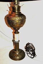 Antique Brass Embossed The JUNO LAMP Made in U.S.A. KEROSENE Oil Lamp Converted