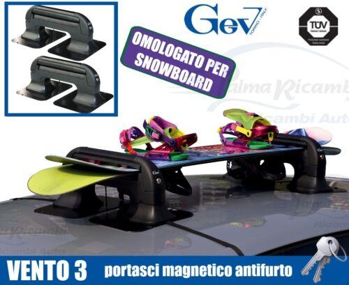 8941 PORTASCI MAGNETICO ANTIFURTO GEV VENTO 3 PER 3 PAIA DI SCI O 2 SNOWBOARD