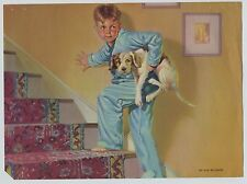 Cute! Vintage 1940's-50's Print Boy in Pajamas Sneaking His Dog Up stairs