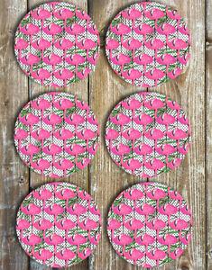 Flamingos-Drink-Coasters-Set-of-6-Non-Slip-Neoprene
