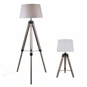 Grey Wash Tripod Wood Table or Floor Lamp Black Painted Metal and Grey Shade