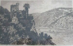 ORIGINAL-OLD-ETCHING-BURG-RHEINSTEIN-GERMANY-SIGNED