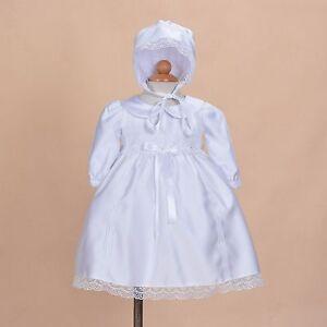 Cinda-Bebe-Satin-Blanc-Manches-Longues-Bapteme-Robe-Bonnet-0-3-Mois