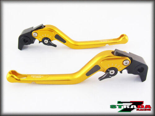Aprilia RSV MILLE R 2004 2008 Strada 7 Long Carbon Fiber Inlay Levers Gold