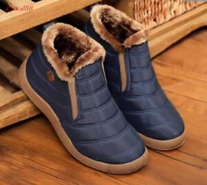 winter-Mens-warm-slip-on-fur-lined-Anti-slip-Casual-cotton-shoes-Snow-boots