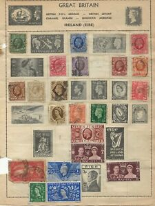 Great-Britain-Greece-and-Egypt-Stamps-on-2-sides-of-an-old-Stamp-Album-Page