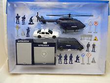 Police Swat Play Set Police Car Helicopter Van Female Officer Garage Road Signs