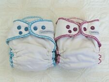 2 Sustainablebabyish Overnight Bamboo Fitted Cloth Diapers Sbish Berry Teal Sz M