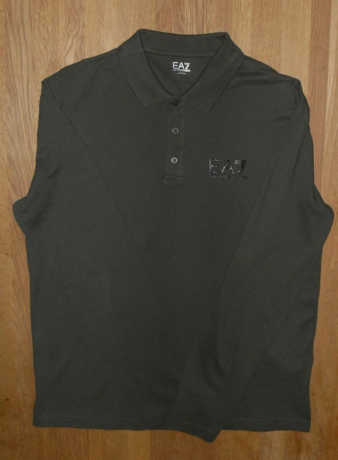 Emporio Armani EA7 Mens Green Pique Long Sleeve Polo UK Extra Large