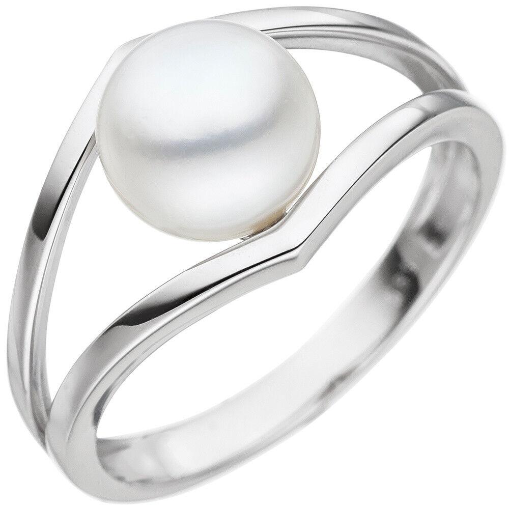 Perle Anello Anello ororing con acqua dolce bianco-perla 585 585 585 oro oro Bianco Finitura 02d150