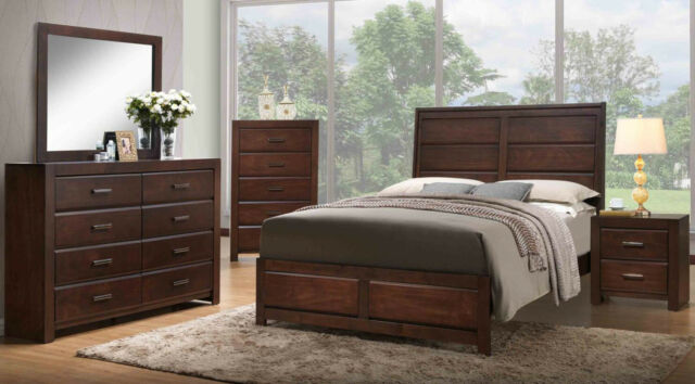 Kings Brand Furniture Aurora 6-Piece Walnut Finish Wood Queen Size Bedroom  Set