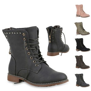 Boots New Schuhe Zipper Stiefeletten Look 893850 Damen Strass Schnürstiefeletten qwCnzE0